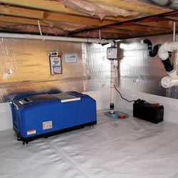 a crawl space vapor barrier and insulation system installed in a home in Asheboro