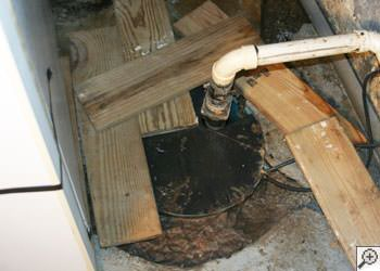 An ugly, clogged sump pump system in Raeford, North Carolina